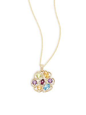 Diamond, Blue Topaz, Peridot, Garnet, 14K White & Rose Gold Pendant Necklace