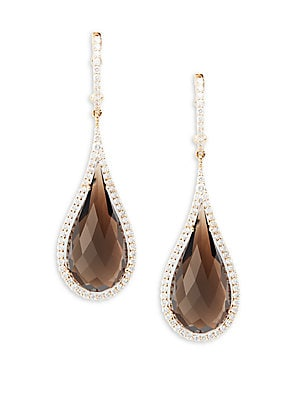 Basic Gold Diamond & 18K Rose Gold Drop Earrings