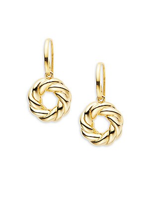 Basic Gold 18K Yellow Gold Twisted Circle Drop Earrings