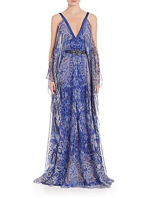 Deep Illusion V-Neck Caftan Gown