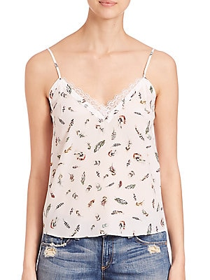 Feather-Print Silk Camisole