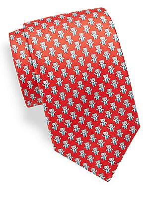 Bear Pattern Silk Tie