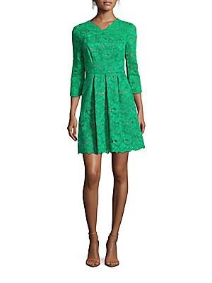 Farra Cord Lace Pleated Dress