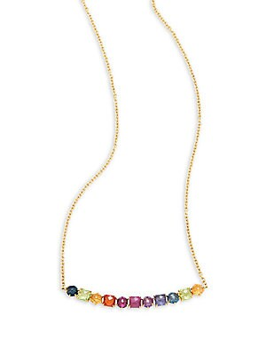 Rock Candy 18K Yellow Gold Rainbow Multistone Necklace