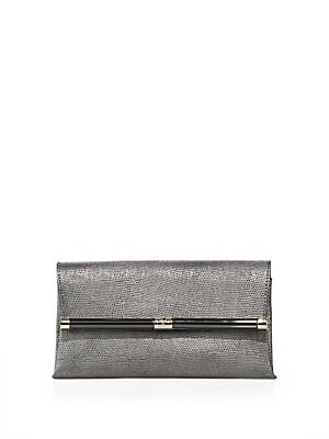 440 Metallic Embossed Leather Envelope Clutch