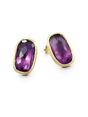 Murano Amethyst & 18K Yellow Gold Earrings