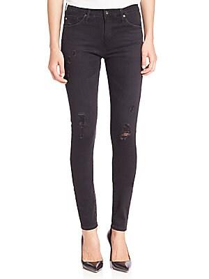Farrah Distressed High-Rise Skinny Jeans