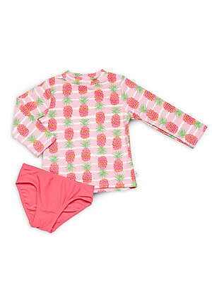 Little Girl's & Girl's Two-Piece Pineapple Striped Top Set