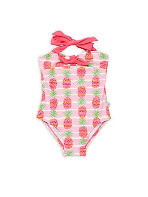 Little Girl's & Girl'sPineapple Printed One-Piece Swimsuit