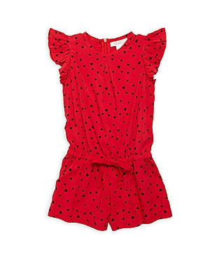 Little Girl's & Girl's Heart-Print Romper