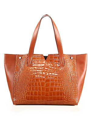 Signature V Crocodile-Embossed Leather & Smooth Leather Tote