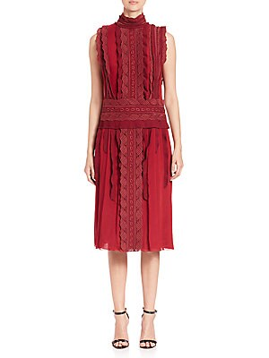 Crepon Macrame Ruffle Detail Dress