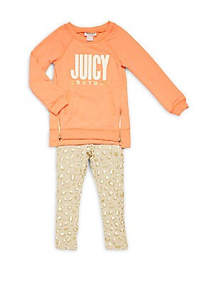 Little Girl's 2-Piece Solid Tunic & Printed Leggings Set