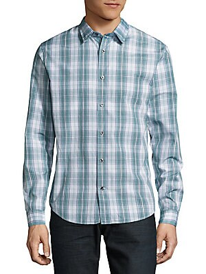 Cotton Plaid Button-Down Shirt