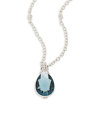 Bermuda London Blue Spinel Teardrop Pendant Necklace