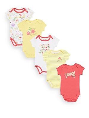 Baby's 5-Piece Assorted Cotton-Blend Bodysuit Set