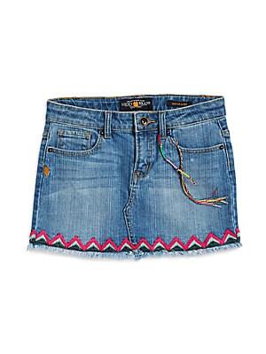 Girl's Sofia Fringe Denim Skirt
