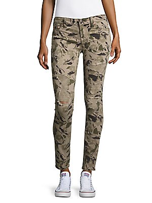 Camo-Print Distressed Jeans
