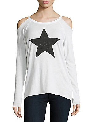 Cold Shoulder Star Print Top