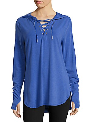 Lace-Up Hooded Shirt