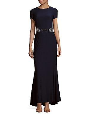 Embellished-Waist Fishtail Dress