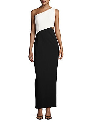 Colorblock One Shoulder Gown