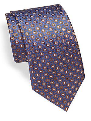 Medallion Embroidered Silk Tie