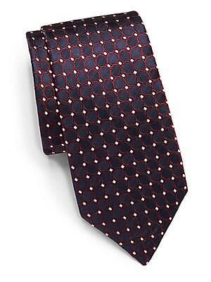 Circle Printed Silk Tie