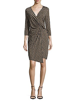 Printed Surplice Neckline Dress