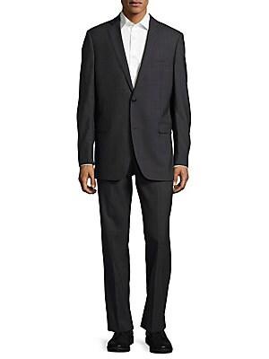 Trim Fit Wool Windowpane Suit