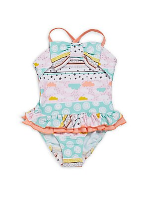 Little Girl's & Girl's Printed Ruffle One-Piece Swimsuit