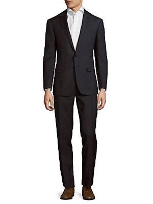 Slim Fit Wool Windowpane Suit