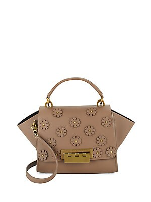 Floral Accent Leather Handbag