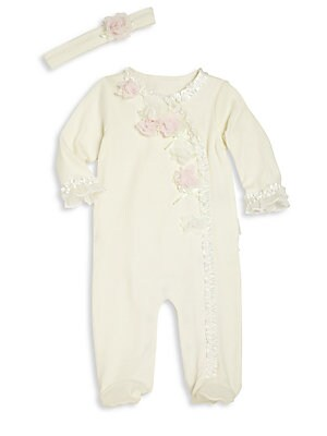 Baby's Two-Piece Flower Footie & Headband Set
