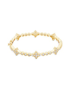 Classic 14K Goldplated Sterling Silver & Genuine Cubic Zirconia New Star Hinge Bangle