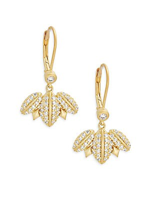 Geometric Edge Cubic Zirconia & 14K Goldplated Pave Winged Leverback Earrings