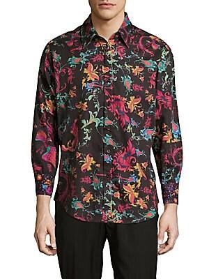 Sansone Floral-Print Cotton Button-Down Shirt