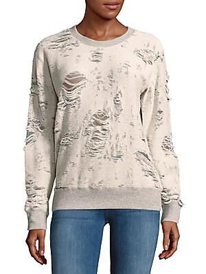 Kismet Distressed Rib-Knit Sweatshirt
