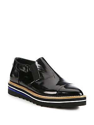 vince female alona patent leather platform loafers