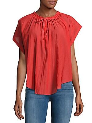 Tie-Front Cotton-Blend Top