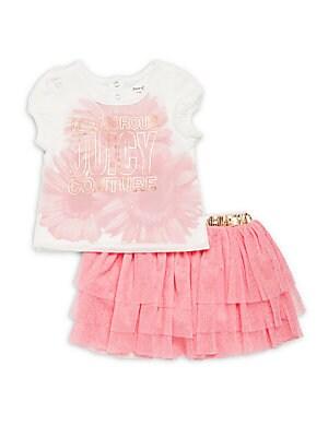 Little Girl's 2-Piece Floral Top & Layered Skirt Set