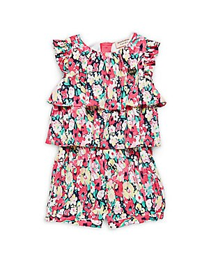 Little Girl's Floral Layered Romper