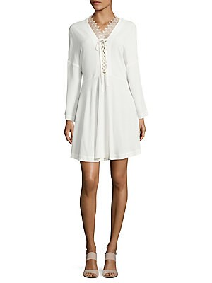 Tiana Tie-Front Long-Sleeve Dress