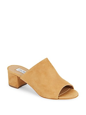 Block-Heel Leather Mules