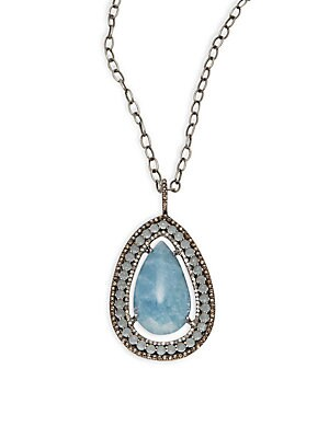 Click here for Diamond  Aquamarine & Sterling Silver Pendant Neck... prices