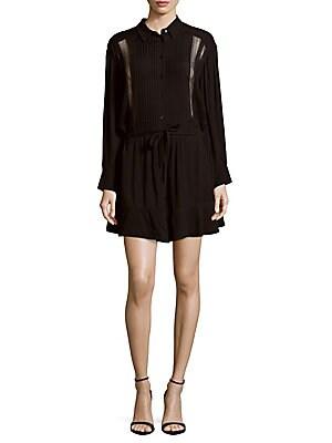 Francy Spread Collar Long-Sleeve Dress