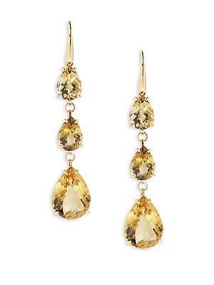 Citrine & 18K Yellow Gold Linear Drop Earrings