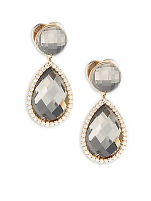 Diamond, Quartz & 18K Rose Gold Drop Earrings