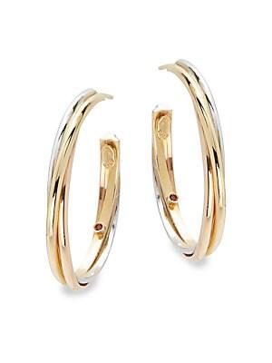 Basic Gold 18K Yellow Gold Hoop Earrings- 1.25in