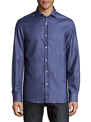Bond Shaped Fit Printed Cotton Button-Down Shirt